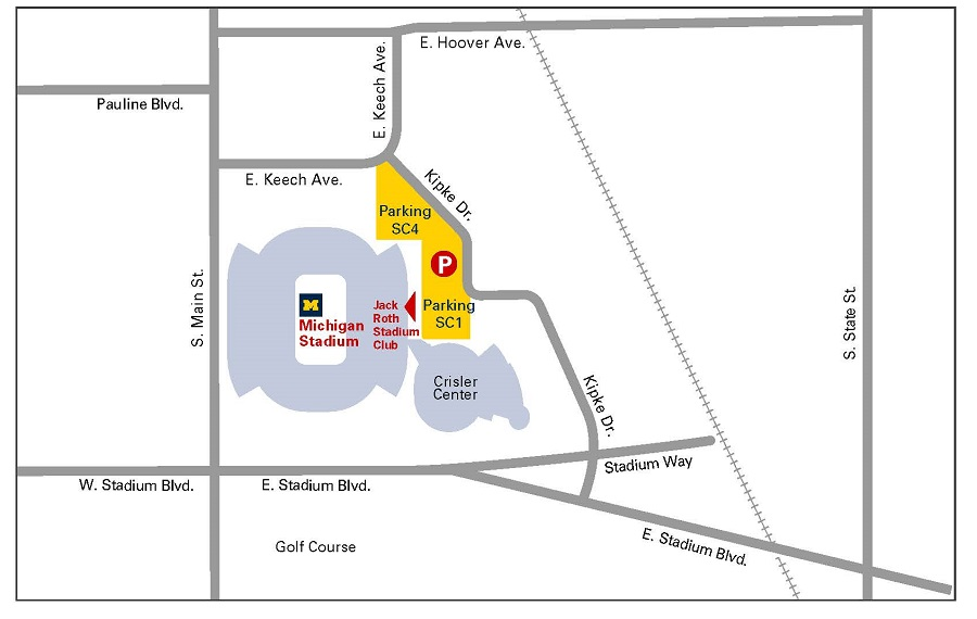 Map of COVID-19 Vaccine Clinic at the Michigan Stadium