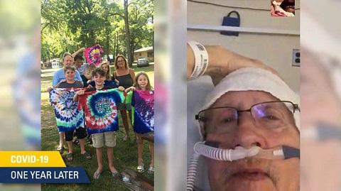 White family displaying tie-dyed t-shirts and white man in hospital with glasses and respirator